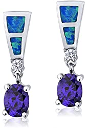 Blue Created Opal .925 Sterling Silver Earrings With Round Oval Purple CZ