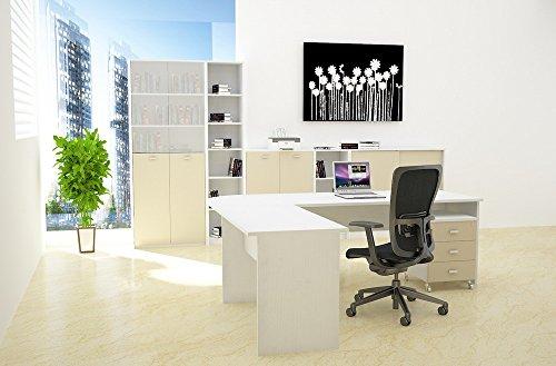 Mobile libreria a giorno per ufficio cm H104 L80 P30 - Colore Bianco