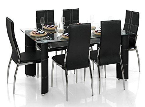 Royal Oak Modern Geneva Dining Set with 6 Chairs (Black)