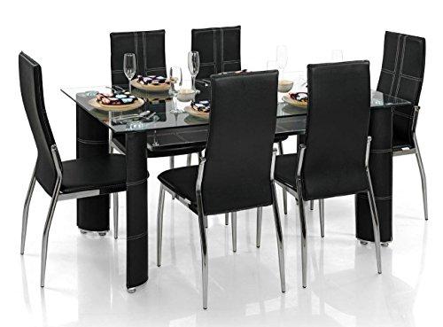Buy Royal Oak Modern Geneva Dining Set With 6 Chairs Black On Amazon