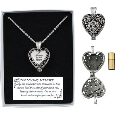 Memorial Heart Locket Necklace with Solid Brass Ash Vial In Loving Memory Urn