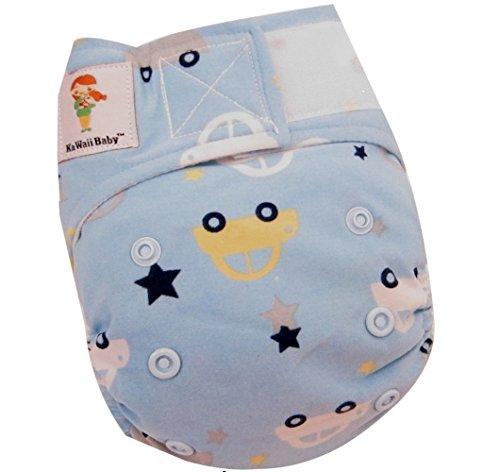 "Kawaii Baby Newborn Reusable Cloth Diaper Pure & Natural 6 - 22 Lb. With 2 Microfiber Inserts "" Cars """