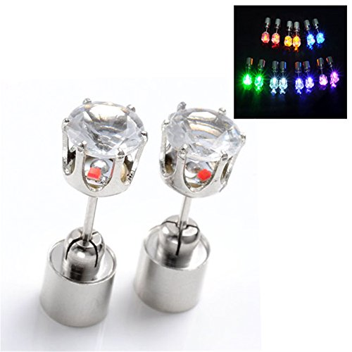 Jovivi Hot New Fashion Light Up Led Earrings Ear Studs - Sell As 1Pair (Lasting Light Mixed Color 7 Pairs)