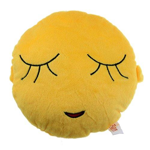 Amonfineshop niedlich Emoji Smiley-Kissen-Kissen-Spielzeug-Geschenk Autotechnik Sitz Kopf-Hals- (Shy)