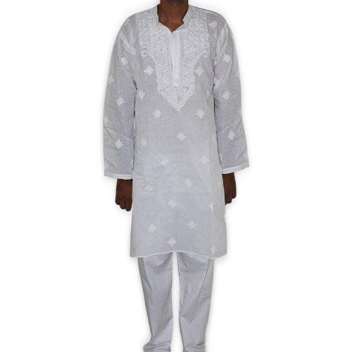 Indian Kurta Pajama White Chikan Work Embroidery on Neck Chest Size : 116.84 cms