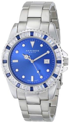 Akribos XXIV Unisex Swiss Quartz Blue Crystal Stainless Steel Bracelet Watch