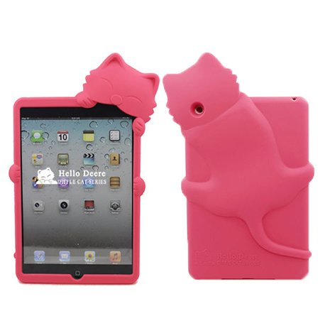 Yuersal Rose Red Cute Animal Shaped Silicone 3D Cat- Gel Silicone Rubber Soft Case Cover Skin For Apple Ipad Mini With Earphone Anti Dust