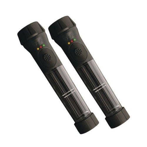 Hybrid Solar Powered Flashlight with Emergency Battery Backup - Black (2 pack)