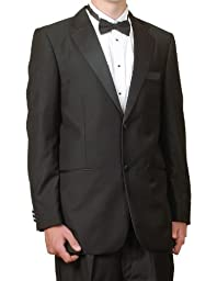New Mens 2 Button Black Tuxedo Suit, size 44 Long  - Includes Jacket and Pants