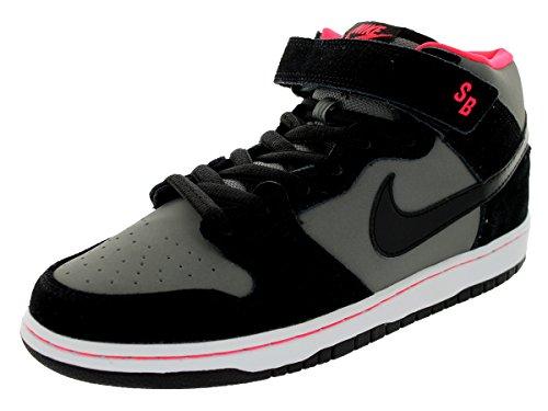 Nike Men'S Dunk Mid Pro Sb Black/Blk/Md Bs Gry/Lsr Crmsn Skate Shoe 8.5 Men Us