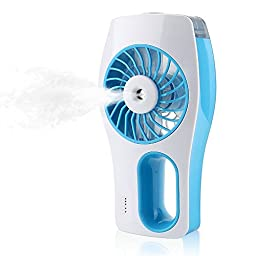 TFSeven Handheld USB Mini Misting Cooling Fan Humidifier 3 Speeds Portable Replenishment Fan Powered by 18650 Rechargeable Battery for Hot Summer Outdoor Travelling Office Baby Use (Blue)