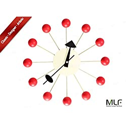 MLF Ball Clock in Red, George Nelson Designed Antique Retro Wall Clock(All Nelson Series Available)