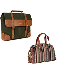 The Maker Combo Of Unisex Green Briefcase With Women's Multicoloured Kilburn Duffle Bag
