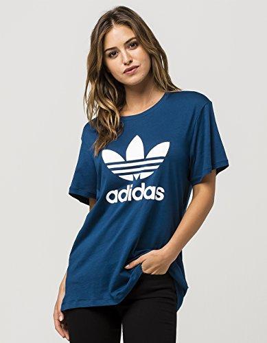 adidas Originals Women's Boyfriend Trefoil Tee, Tech Steel/White, M