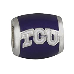 Teagan Collection White TCU on Purple Bead - Texas Christian University