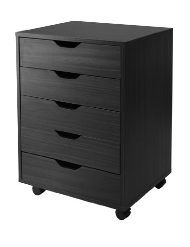 Winsome Halifax Cabinet for Closet/Office, 5 Drawers, Black