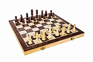 "High Quality 15"" Classic Folding Wooden Chess Set - Includes Wood Pieces, Board & Storage Pouches! (2015 Model)"