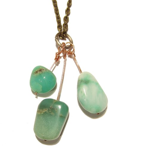 Chrysoprase Necklace 03 Chain Green Gemstone Copper Wire Reiki Healing 26
