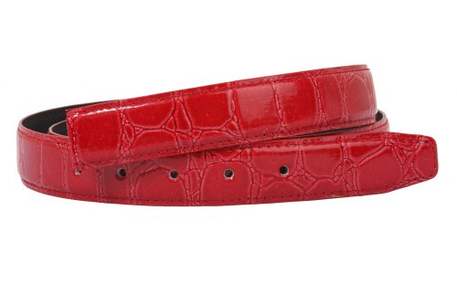 One Size Fits All Feather Edged Croco Patent Non Leather Belt Strap Color: Red