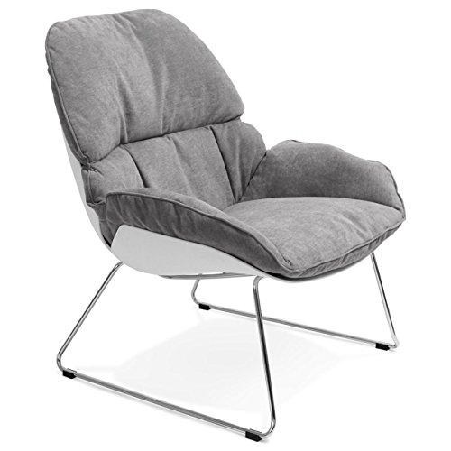 Fauteuil lounge design LILOU en tissu (gris clair)