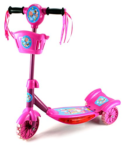 Classic Rider Children'S Kid'S Three Wheeled Metal Frame Toy Kick Scooter, Light Up Base W/ Music, Rear Fender Brake (Pink)
