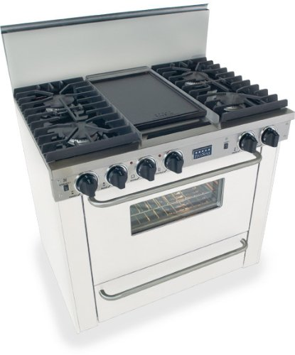 """36"""" Pro-Style Lp Gas Range With 4 Sealed Ultra High-Low Burners 3.69 Cu. Ft. Convection Oven Manual Clean Broiler Oven And Double Sided Grill/Griddle"""