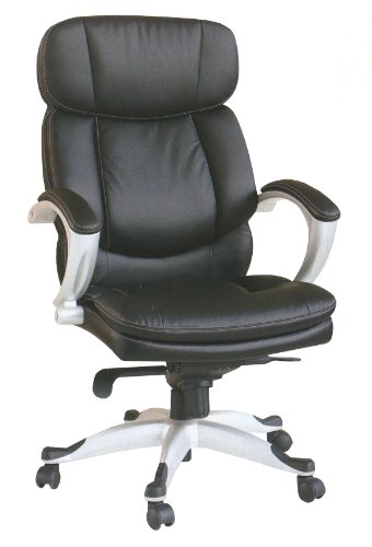 Body Balance System Harmonic Massage Office Chair (Black Leather with Silver Finish Frame)
