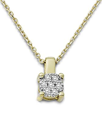 Miore 9ct Yellow Gold Solitaire Look Diamond Pendant Necklace on 42cm Chain MP9159N