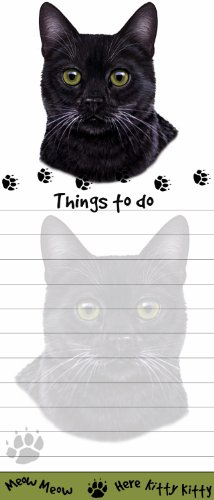 """Black Cat Magnetic List Pads"" Uniquely Shaped Sticky Notepad Measures 8.5 by 3.5 Inches"