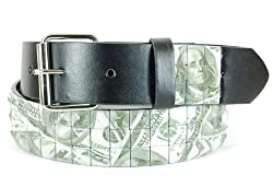 Q Collection Pyramid Studded Prints Faux Leather Belt (XLarge, $100 Bills)