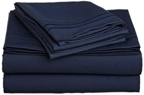 Lamma Loe 4 Pc Bed Sheet Set - Queen, Dark Navy Blue,