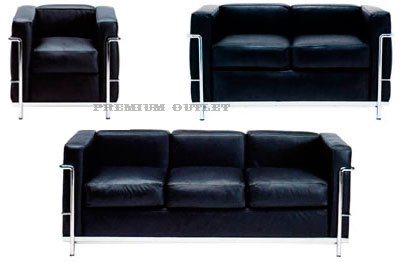 Le Corbusier Petit Loveseat Full Set LC2 - Black