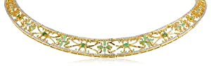 """18k Yellow Gold Plated Sterling Silver Emerald and Diamond Accent Necklace, 17"""""""