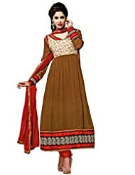 FadAttire Designer Anarkali Suit With Elegant Patch And Classic Zari Work On The Border, Sleeves And Neck-Brown-FATB03...