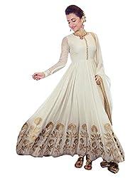 Surat Tex Women's Georgette Anarkali Semi-Stitched Dress Material (H951DLAT1_White)