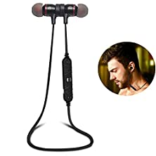 buy Bluetooth Headphones, Magnet Attraction V4.0 Wireless Earbuds In-Ear Noise Reduction Headphones With Microphone For Running & Sports, Sweatproof Stereo Bluetooth Headset Earphones (Black)