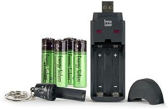 Energy Sistem NNatura Neobat AA - Cargador (Níquel-Hidruro metálico (NiMH), AA, AAA, 2100 mAh, Negro, USB)