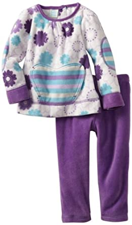 Baby Togs Baby-Girls Infant 2 Piece Microfleece Outfit, Lilac/White, 12 Months