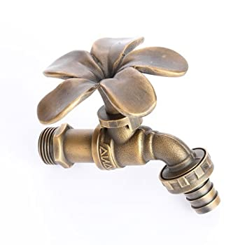 Vintage Outdoor Living Home Garden Yard Brass Decor Faucet Tap Gold Flower