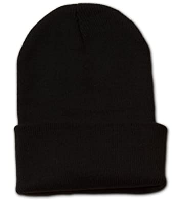 Black Long Cuff Beanie Cap (Choose Many Colors Available), Black