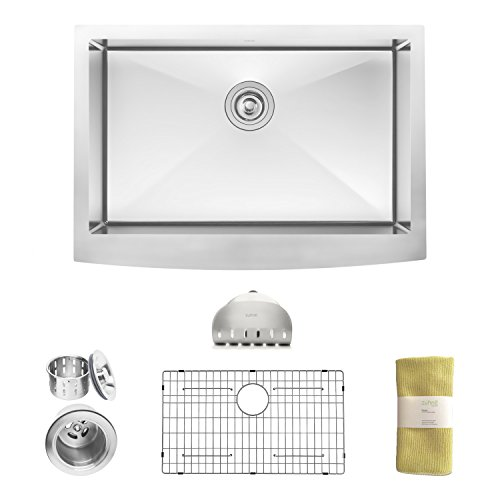 Zuhne 30 Inch Farmhouse Apron Deep Single Bowl 16 Gauge Stainless Steel Luxury Kitchen Sink