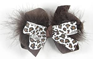 Genuine Lexa Lou Chocolate Brown Cheetah Print Brown Feather Boa Bow