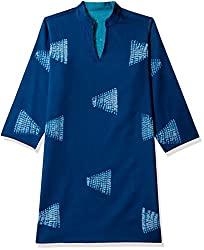 Fabindia Women's Cotton Mull Tunic (10339839_Blue and Turquoise_Small)