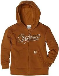 Carhartt Little Boys\' Logo Fleece Hooded Zip Front Sweatshirt, Carhartt Brown, 6
