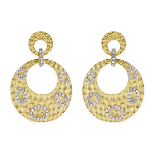 C.Z. Round Hammered Drop Vermeil Plated (.925) S/S Earrings (Nice Holiday Gift, Special Black Firday Sale)