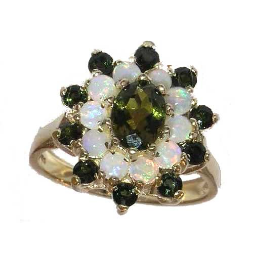Fabulous Solid Yellow Gold Natural Green Tourmaline & Opal 3 Tier Large Cluster Ring - Size 12 - Finger Sizes 5 to 12 Available - Suitable as an Anniversary ring, Engagement ring, Eternity ring, or Promise ring