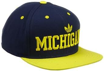 NCAA Flat Brim Snapback Hat - NG43Z, Michigan Wolverines, Adjustable-navy