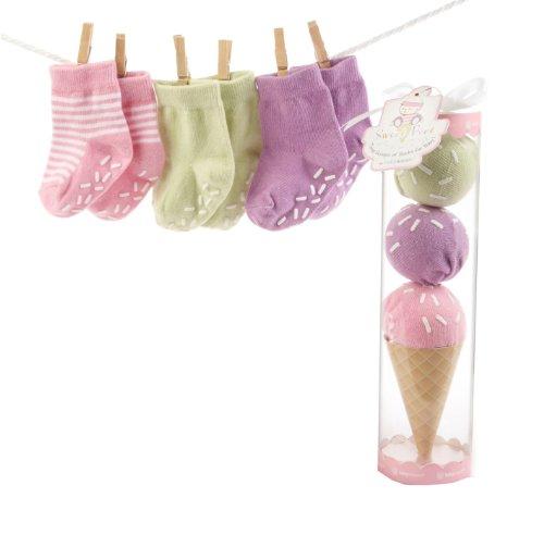 "Baby Aspen ""Sweet Feet"" Three Scoops Of Socks Gift Set, Pink"