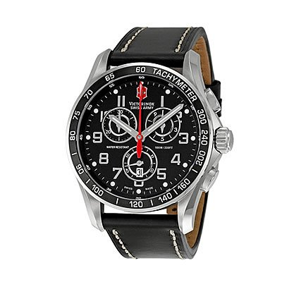 Victorinox Swiss Army Men's 241444 Chron Classic Stainless Steel Watch With Black Leather Band