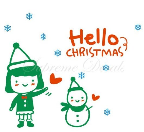 Christmas Decals- Snowman and a girl- Vinyl wall
